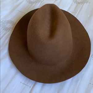 brown wool wide brim fedora hat